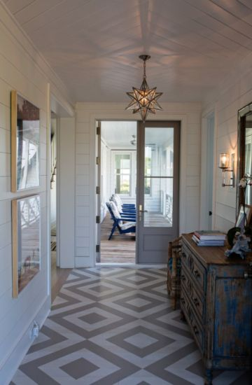 Coastal Living Sullivan's Island Home Tour, design by Jenny Keenan and custom-painted floor by Suzanne Allen Studio | coastalliving.com