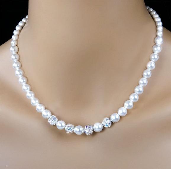 ON SALE Pearl Bridal Necklace, White Swarovski Pearls & Rhinestones AB, Bridesmaid Pearl Necklace, Wedding Jewelry - Adela (WN0072). $50.50, via Etsy.
