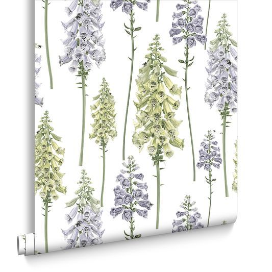 Foxglove Lilac and Lime Wallpaper