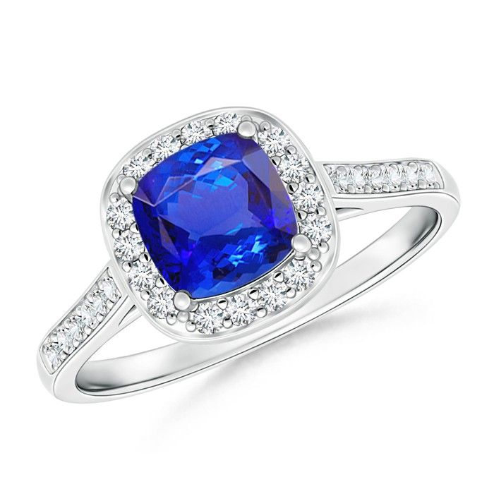 Angara Vintage Diamond Floral Halo Oval Tanzanite Cocktail Ring in White Gold zusj1c