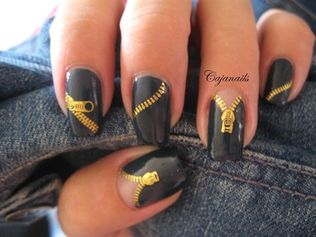 Zipper nailsZippers Nails, Fashion, Nails Art Gallery, Nailart, Nails Design, Nails Ideas, Black Gold, Nails Art Design, Art Nails