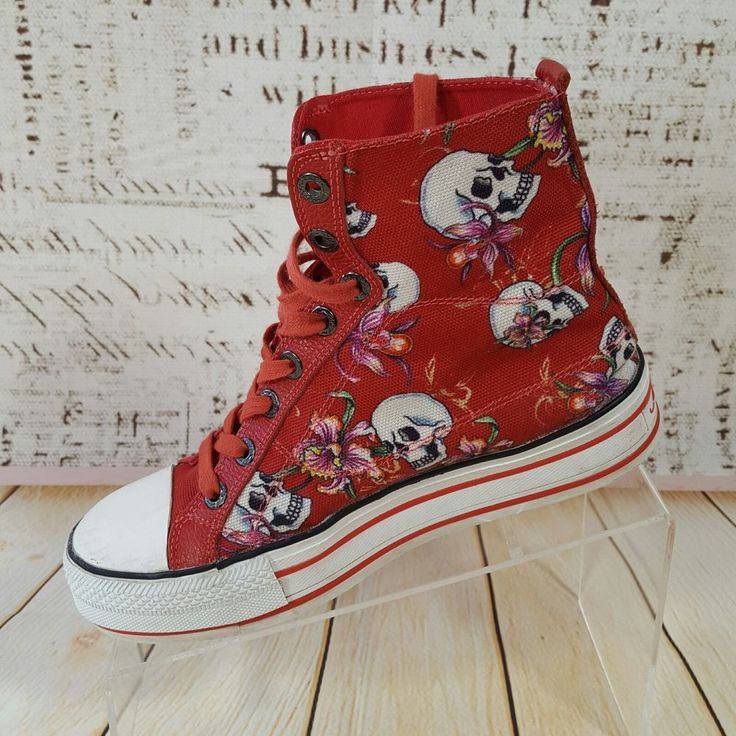 Ed Hardy Designs Womens Size 6 EUR 36 High Top Chucks Shoes red flowers skulls #EdHardy #Hightop