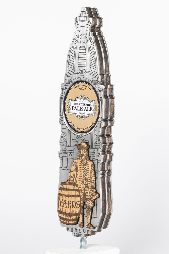 """Willadelphia""—John Combs. This is an attempt to create mixes of old and new. The old: With this design, I envisioned Yards Brewery's existence back in William Penn's heyday. The setting is Mr. Penn in front of city hall with a beer in hand, standing beside a keg of Yards. The new: Adding to the historical background the tap portrays, I also wanted to give it a somewhat raw look. Stacked, unpolished metal and wood was used to pay homage to Philadelphia's image as a tough, blue collar city.: Historical Backgrounds, Cities Hall, Awesome Taps, Yard Taps, Collars Cities, Metals, Beer Art Design, Taps Handles, Blue Collars"