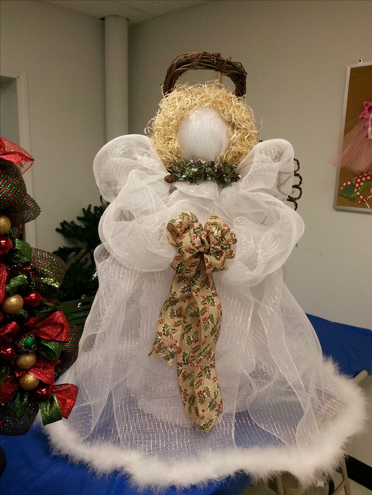 Deco Mesh Angel I Made For Work My Crafts Pinterest