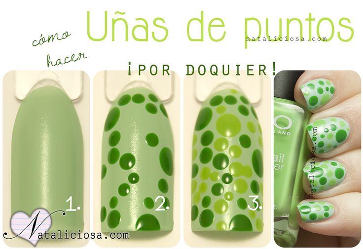 Tutorial uñas con puntitos verdes