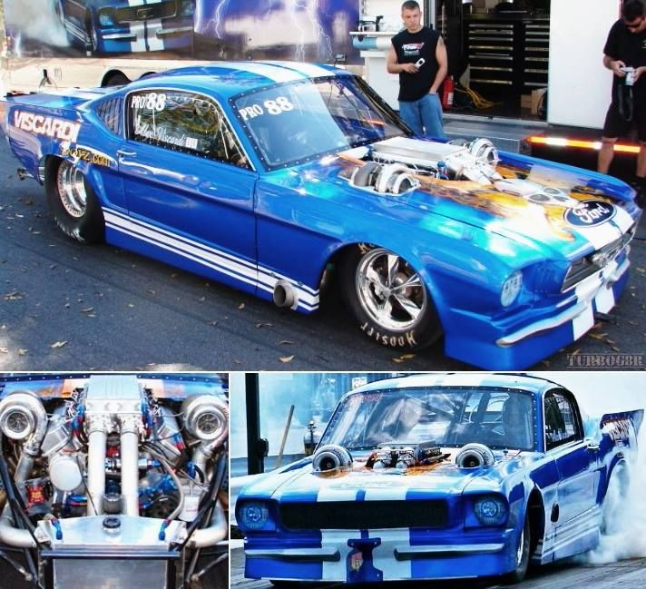Turbo Harley Drag Race: Alex Viscardi Twin Turbo 1967 Ford Mustang