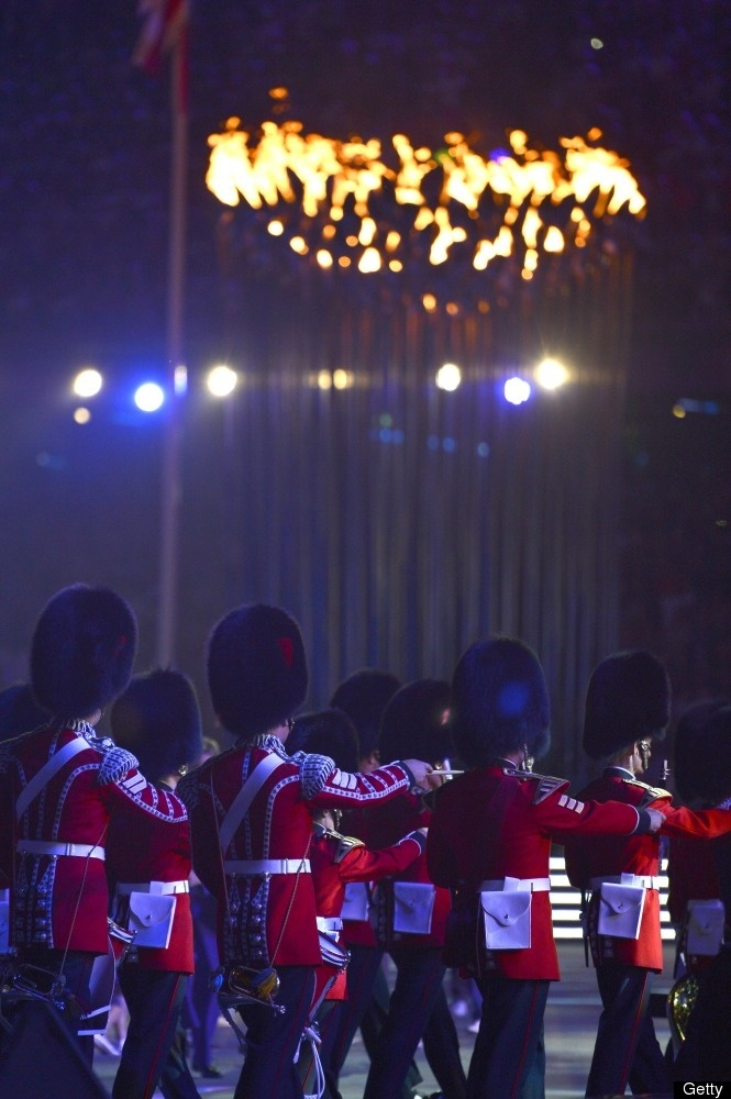 Guards march before the Olympic Flame during the closing ceremony of the 2012 London Olympic Games at Olympic Stadium in London on August 12, 2012. Rio de Janeiro will host the 2016 Olympic Games. AFP PHOTO / ODD ANDERSEN (Photo credit should read ODD ANDERSEN/AFP/GettyImages)
