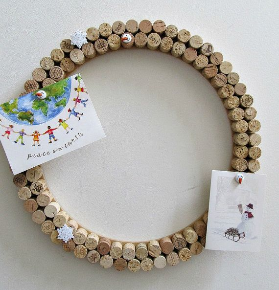 Wine Cork Card Wreath Picture Holder Bulletin Board - Holiday Everyday Decor…