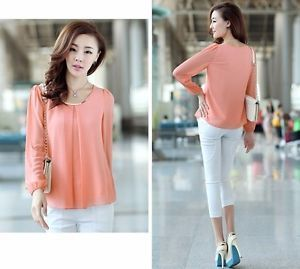 UK Womens Work Blouse Long Sleeve Casual Chiffon Pleated Shirt Smart Office Top EUR 9.99