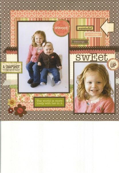 """Adorable """"Sweet Sister"""" Scrapbooking Page...drapmi: Two Peas In A Bucket."""