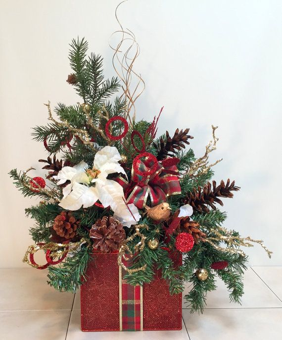 Christmas Table Decor Red Gold Christmas Centerpiece