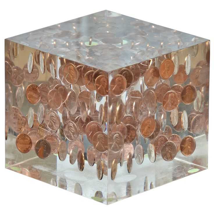 1stdibs.com | Decorative Lucite Coin Cube