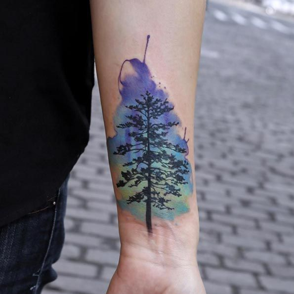 40 Unique Forearm Tattoos For Men With Style Watercolor Tree Tattoos Watercolor Trees And