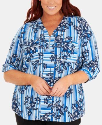 Ny Collection Plus Size Floral-Print Zip Blouse - Blue 1X 1