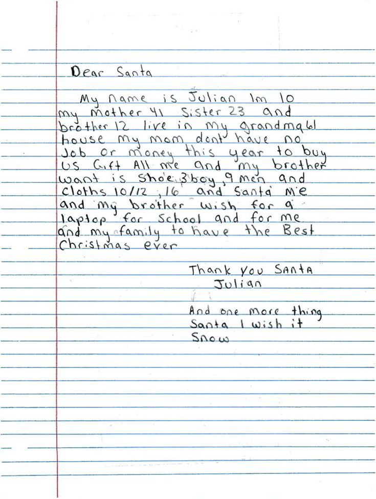 Adopt a letter to Santa and make a child's holiday wish