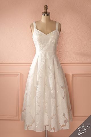 Mattie Snow - White floral appliqués midi dress