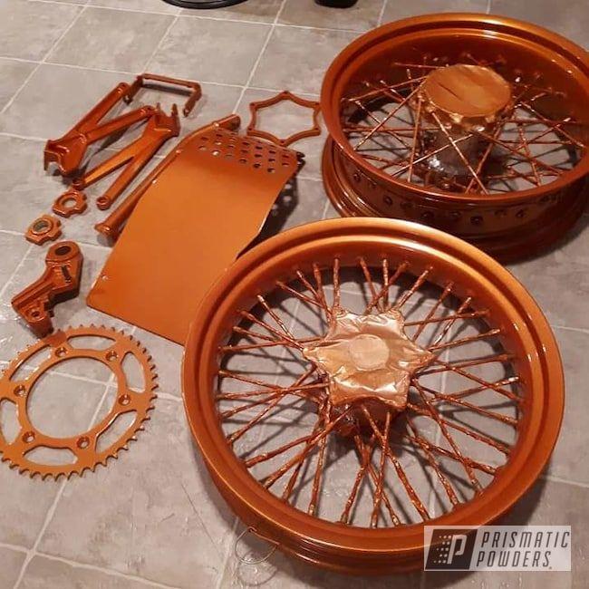 Prismatic Powders Orange Powder Coated Ktm Motorcycle Parts Custom Motorcycle Parts Ktm Motorcycles Motorcycle Parts