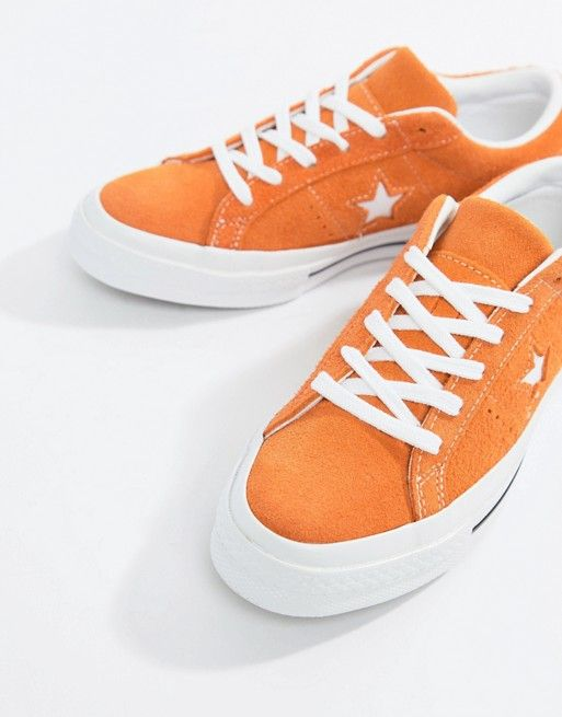 e62491bc992044 Converse One Star Suede Sneakers In Orange