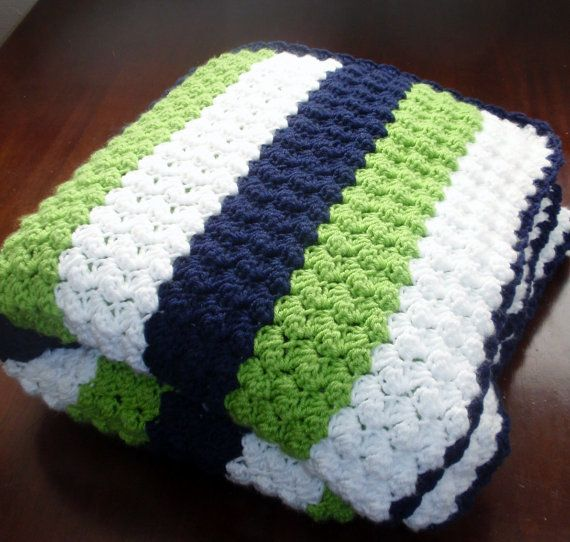 Crochet Seahawks Afgan, Seahawks Blanket, Football Blanket, Crochet Blanket, Green, Blue & White,  Adult Size