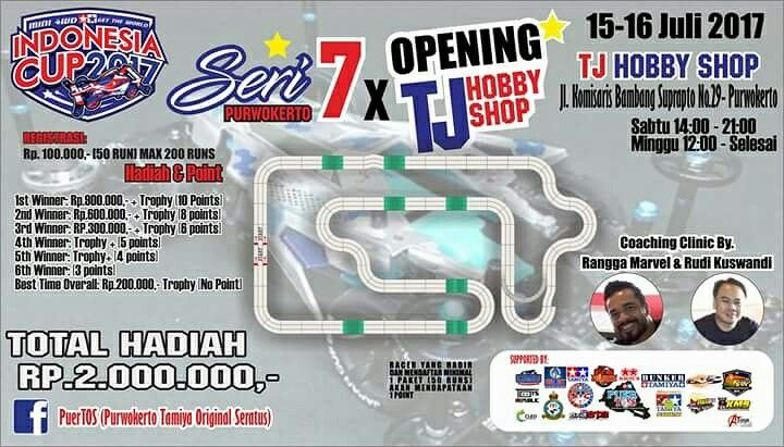 Opening of TJHobbyShop at Purwokerto This weekend guys don't miss it #gettheworld #tamiyaindonesia #Mini4WD #TamiyaMini4WD #IndonesiaCup2017 #IC2017 #KOMSS #STO100 #ミニ四駆 #tamiya #TOS #STO #TamiyaOriginalSeratus #furush #teamflazh #asiachallenge2017