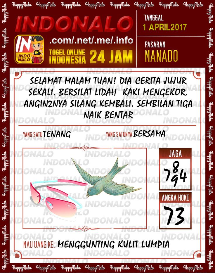 Angka JP 4D Togel Wap Online Indonalo Manado 1 April 2017