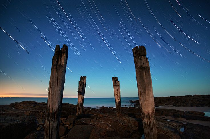 Star trails along the Great Ocean Road