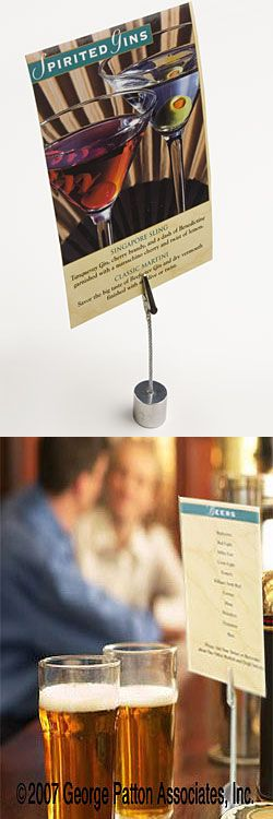 """4.5"""" Place Card Holder with Strong Alligator Clamp and Silver Metal Cylinder Base (menu card holders?)"""