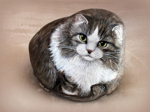 Cat painted on rock by Yvette Biedermann