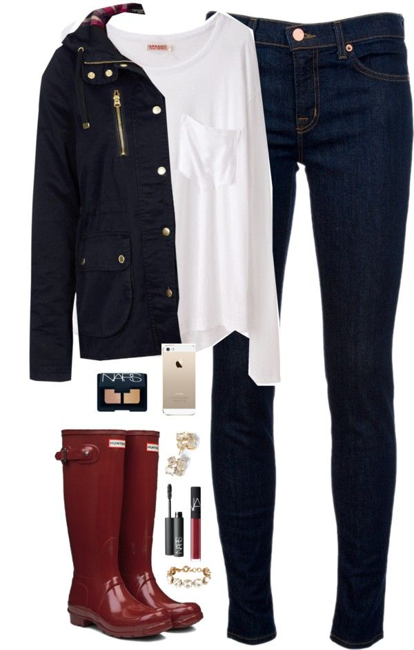 day off school por classically-preppy con slip on rubber boots ❤ liked on Polyvore Organic by John Patrick slouchy shirt / Topshop lightweight cotton jacket, $23 / J Brand mid-rise jeans, $180 /...