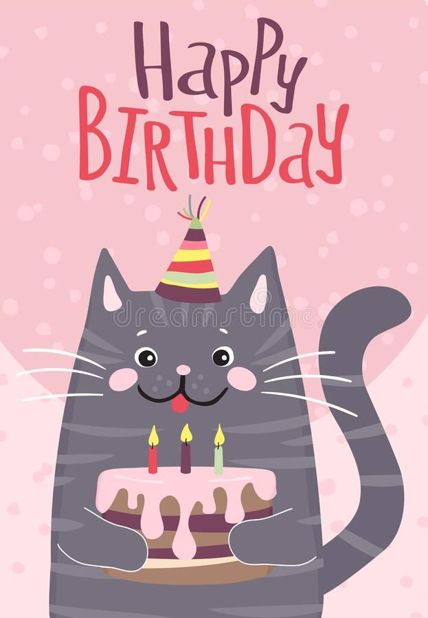 Happy Birthday Card With Cute Cat Happy Birthday Greeting Card Cute Cat With C Sponsored Happy Birthday Animals Cute Happy Birthday Happy Birthday Cards