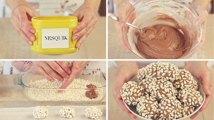 BISCOTTI AL NESQUIK, ricetta facile. Dolcetti al cioccolato con riso soffiato. I biscotti sono buonissimi da mordere o da inzuppare nel latte...