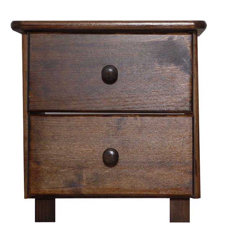 Dřevěný noční stolek Tina borovice masiv odstín ořech- SKLADEM 1ks
