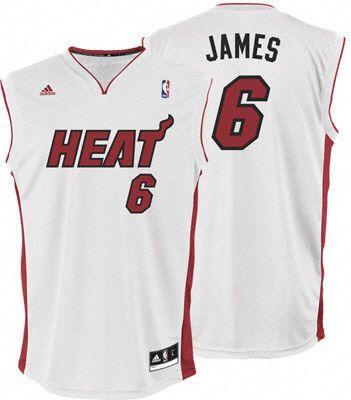 Miami Heat LeBron James 6 White Authentic NBA Jersey Sale