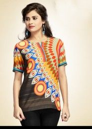 Party Wear Multi Colour Cotton Printed Kurti