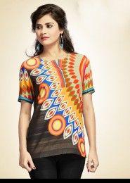 Party Wear Multi Colour Cotton Printed Kurti