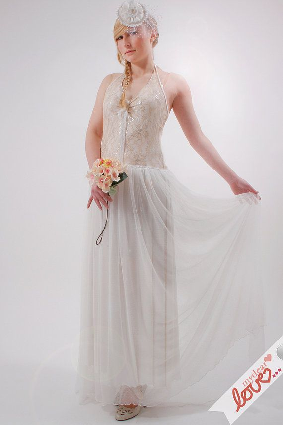 Bridal festive lace gown 'Emily' white ivory silvery by mydearlove