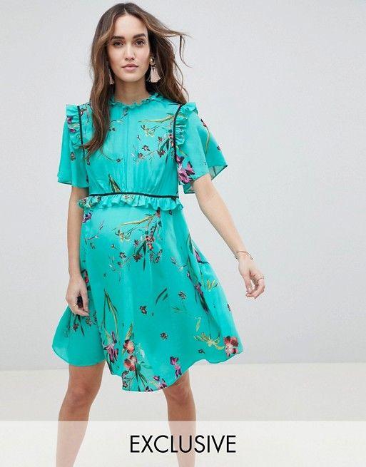 d40e215ae00a3 ASOS Maternity | ASOS DESIGN Maternity Tea Dress With Ruffle Detail In Floral  Print Asos Maternity
