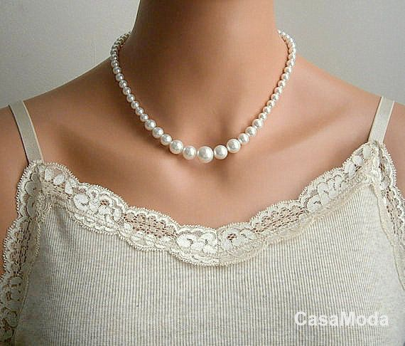 Pearl Necklace Bridal Pearl Necklace Vintage Style In White Swarovski Crystal Pearls ON VACATION