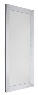 Lustro Lucia Rec Eleganckie duże lustro w ramie lustrzanej. Powierzchnia lustra jest wklejona na płytę wykonaną z jednego kawałka MDF. Krawędź boczna jest srebrna.