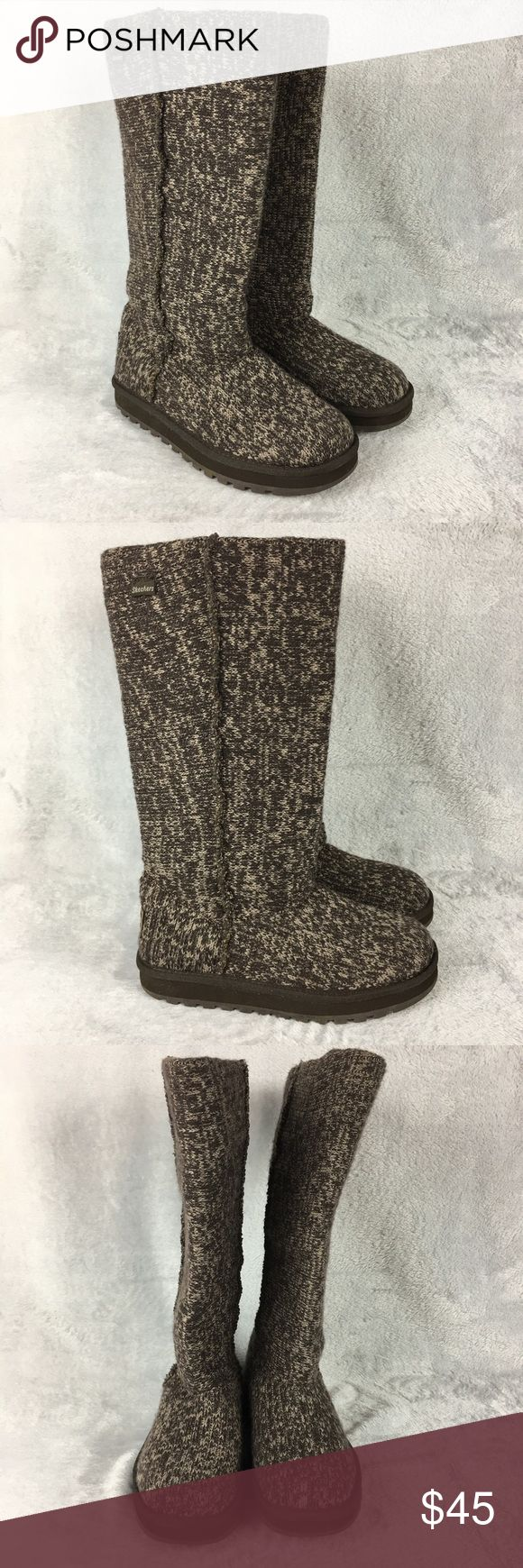 Skechers Winter Boots Weather Sweater Foldable SKECHERS CHOCOLATE SWEATER BOOTS #46987  Size: 7.5M, Womens  Color: Brown Woven  Condition: Preowned, 100% Authentic Skechers Shoes Winter & Rain Boots