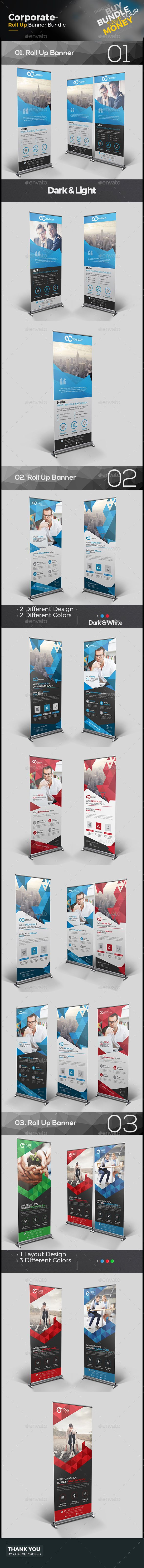 3 Corporate Roll Up Banner Templates Vector EPS, AI Illustrator. Download here:...