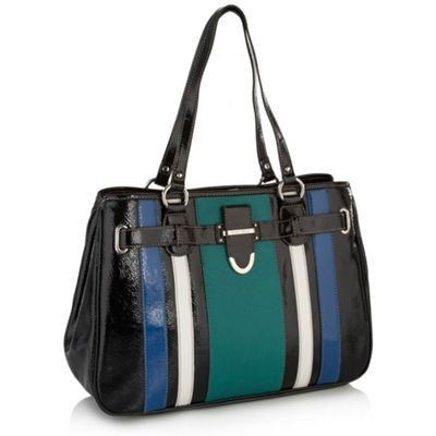 Black striped patent tote bag
