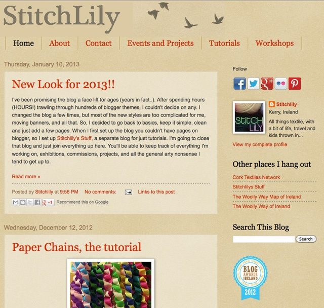 StitchLily  http://www.stitchlily.blogspot.ie/  Finalist Best Craft Blog Category Blog Awards Ireland 2012