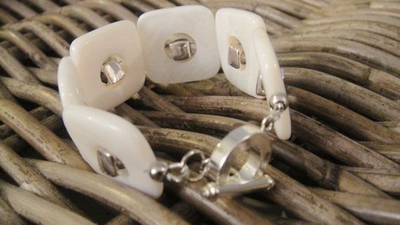 White cuff bracelet, Mother of Pearl bracelet