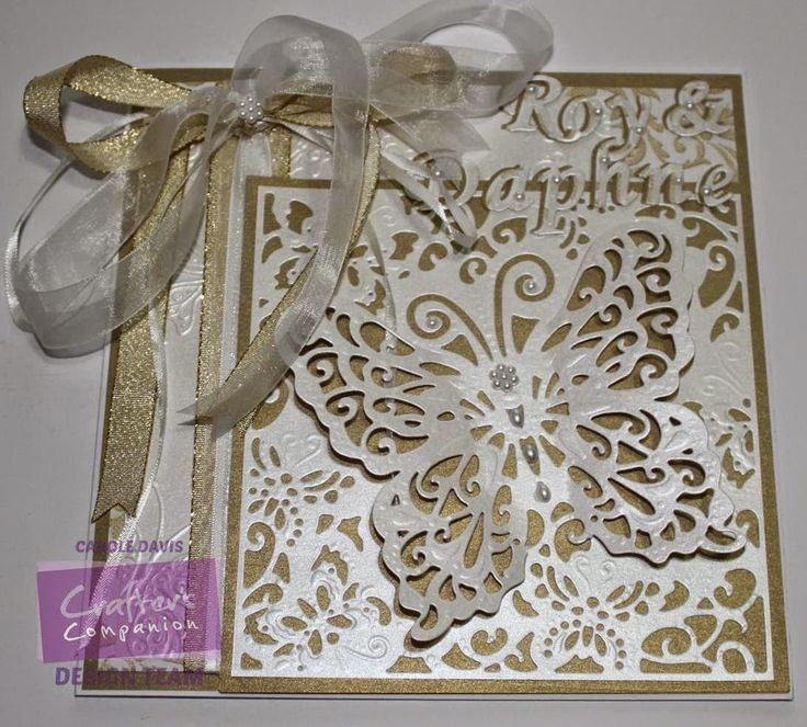 """@crafterscomp - Butterfly Wedding Card - Double Sided Fresh White Centura Pearl - Die'sire Lace Butterfly Create-a-Card - Embossalicious A4 Ornate Butterflies - Die'sire 1"""" Alphabet dies"""
