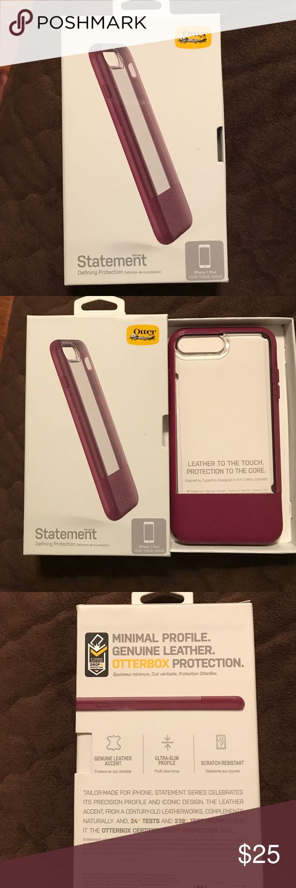 iPhone 7 plus Otter Box Case iPhone 7 Plus Otter Box Case with genuine leather accent. Only used the case once. Still in great condition. OtterBox Accessories Phone Cases