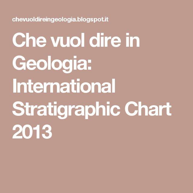 Che vuol dire in Geologia: International Stratigraphic Chart 2013