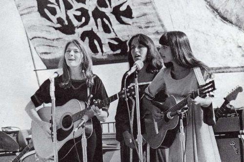 Joan Baez, Judy Collins and Mimi Fariña at the Big Sur Folk Festival, 1966.