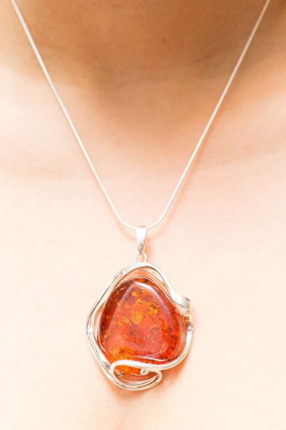 Large Amber Pendant Natural Baltic Amber by BalticBeauty925