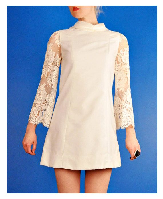 Vintage 60s Mod Mini Wedding Dress Wow Looks like my wedding dress !! Mine had shorter sleeves .......